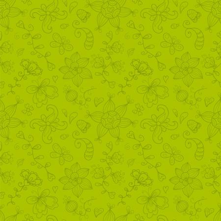 butterfly ladybird: Patr�n sin fisuras con flores estilizadas dibujado a mano, hojas, mariposas, mariquitas, el sol y otros Vectores