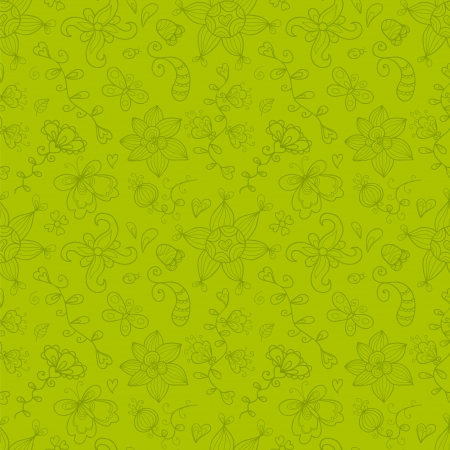 seamless pattern with hand drawn stylized flowers, leaves, butterfly, ladybird, sun and other Vector