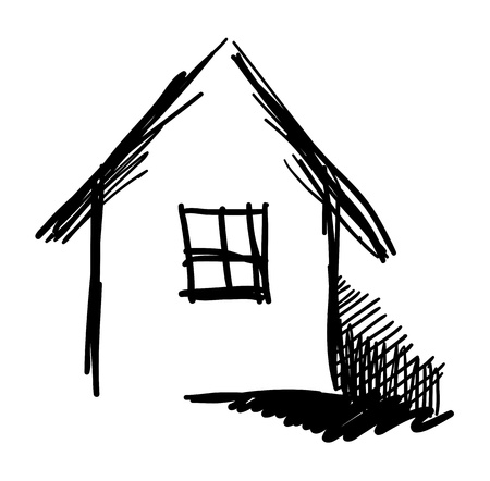 Black and white expressive house sketch