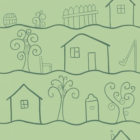 datcha: doodle seamless pattern de la vie campagnarde, r�tro reflets verts