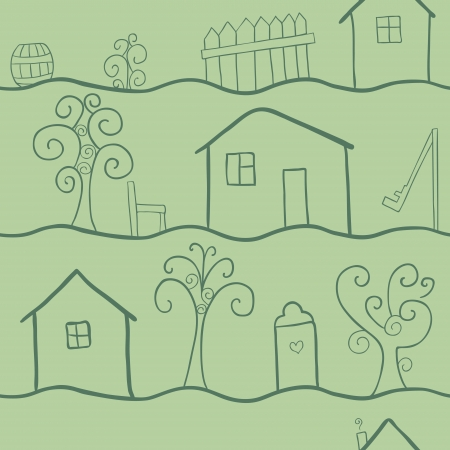 doodle seamless pattern of country life, retro green tints