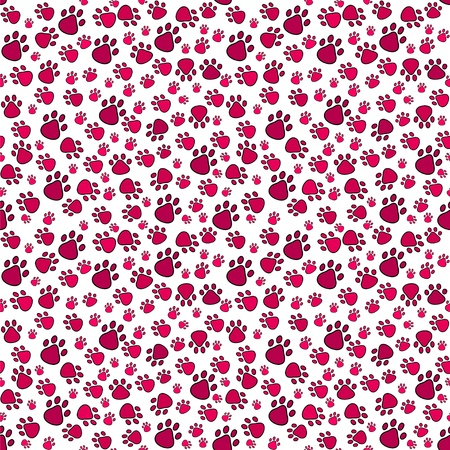 tints: Pet paw imprint seamless pattern in red tints.
