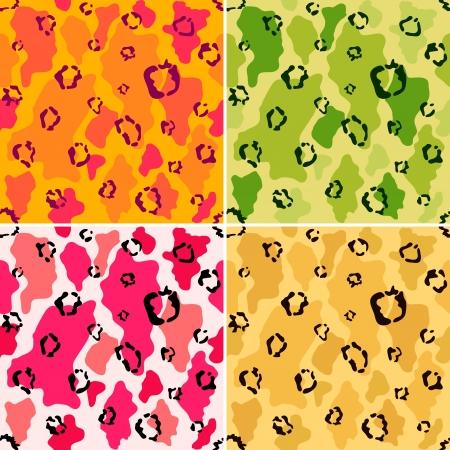 Wildlife animal spots seamless pattern set Vector