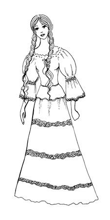 plaits: Ink pen girl contour, illustration