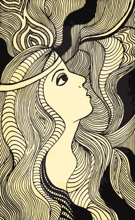 gravure: Hand drawn girl illustration on aged paper.
