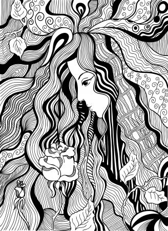 tatouage art: Main artistique illustration tir�e d'une jeune fille � la rose