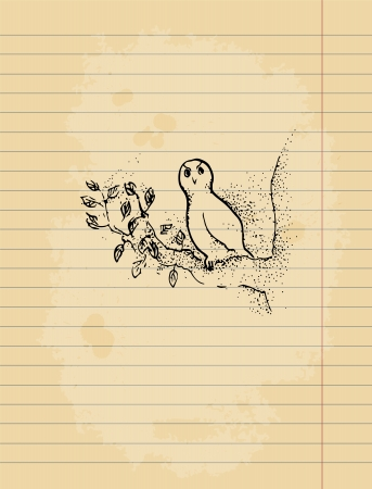 paper sheet: Ink pen drawing of an owl on lined paper sheet. Illustration