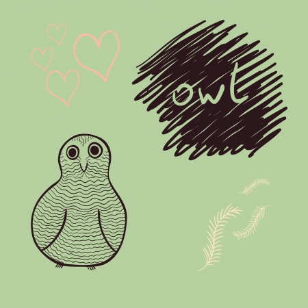 card with amusing hand drawn owl, feather and hearts Vector