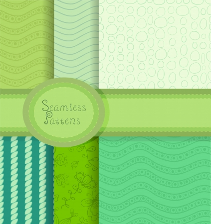 Beautiful collection of seamless patterns in retro colors Vector