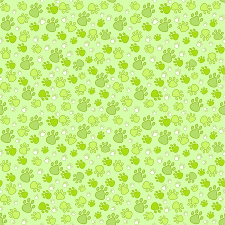 Pet paw imprint seamless pattern in green and white colors Illustration
