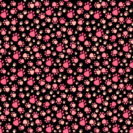 Pet paw imprint seamless pattern in pink and black colors
