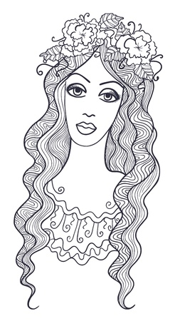 chaplet: Artistic drawing of a beautiful girl with floral chaplet on her head