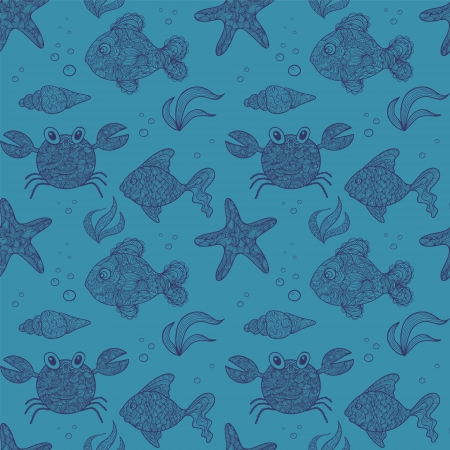 algal: seamless pattern of marine life Illustration