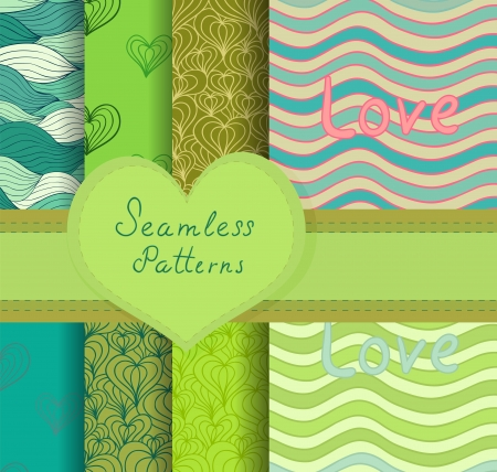 valentine seamless patterns set. Colorful backgrounds for your design. Contains Clipping Mask and patterns in Swatches palette. Vector