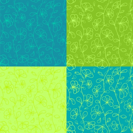 Floral seamless pattern set Stock Vector - 18640236