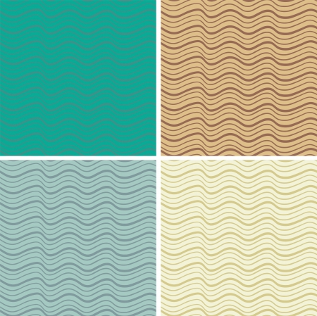 whirpool: Abstract seamless pattern with waves, set.