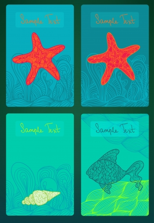 Colorful cards with marine life. Set Stock Vector - 18640841