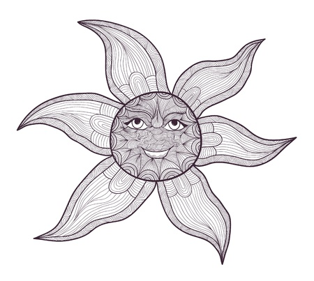 Elegant black and white sun drawing Vector