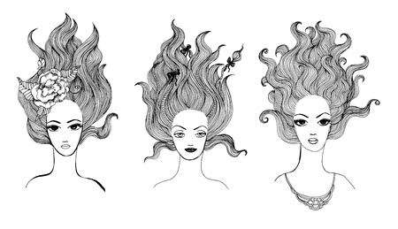 gravure: Vector black and white drawings of beautiful long-haired girls, collection.