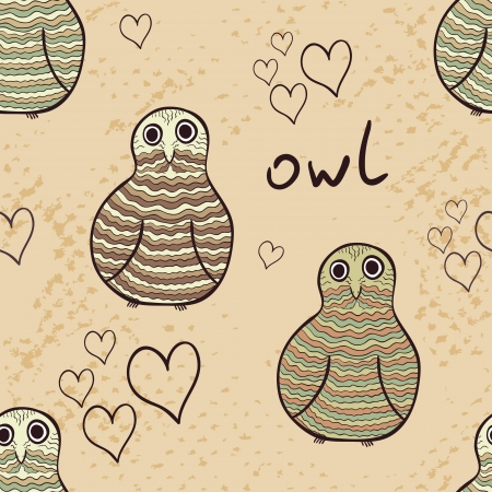 Beautiful owls and owletch seamless pattern in stylized doodle style. Retro colors Vector