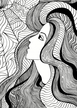 Hand drawn girl abstract illustration. Vector