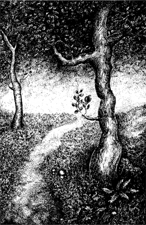pointillism: Forest landscape illustration