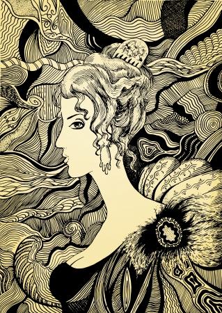 arte moderno: Dibujado a mano ilustración muchacha abstracta
