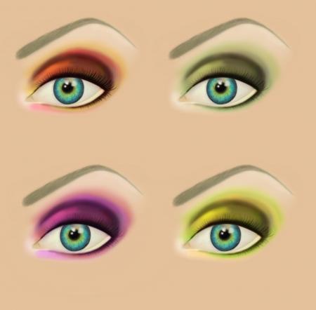 Raster illustration of make up samples  Woman eye  Fashionable evening and fantasy make up  illustration