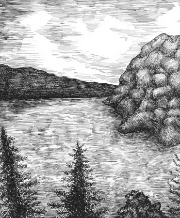 Ink pen landscape  Firtrees ans sea photo