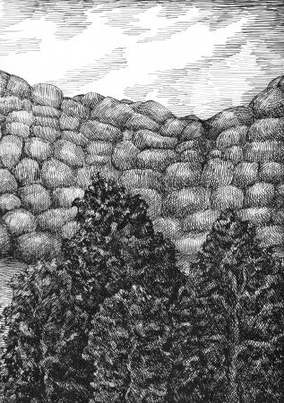 Artistic illustration  Landscape, sea and mountains  Ink pen  illustration