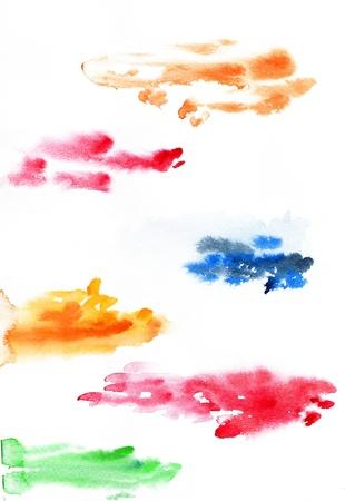 Set of wet raster watercolor strokes Stock Photo - 18640612