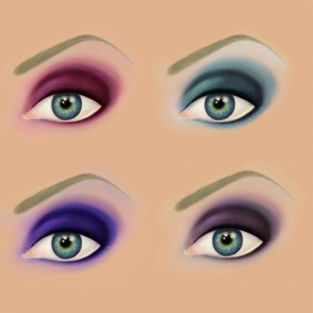 smoky eyes: Collection of smoky eyes make up  Raster illustration Stock Photo