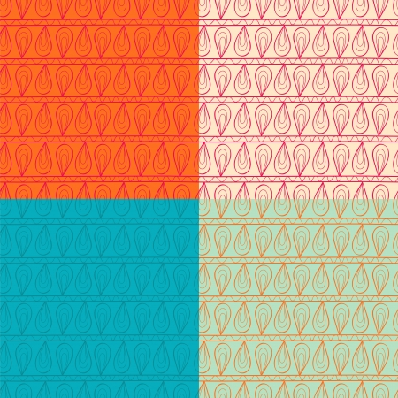 peachy: Ornamented seamless pattern set Illustration
