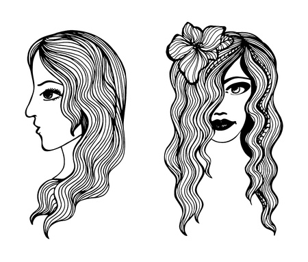 Black and white sketches of beautiful girls Stock Vector - 20697485