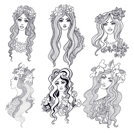 hand drawn doodle girls. Stock Vector - 20697486