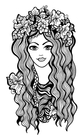 Beautiful black and white girl with flower crown drawing.  Stock Vector - 20697550