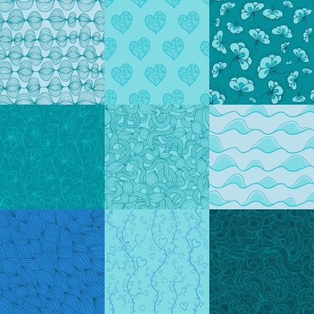 tints: Big collection of seamless patterns for your design. Cold blue tints. Illustration