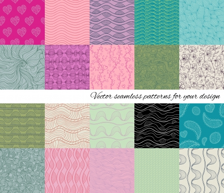 Big collection of abstract seamless patterns  Vector