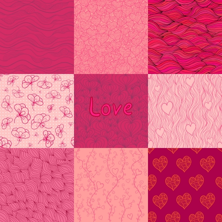Set of seamless patterns of rosy and vinous colors. Vector
