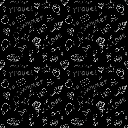 Black and white seamless pattern with stylized shapes of summer vacation attributes Vector