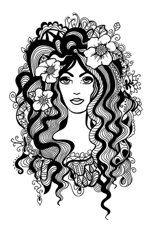 Artistic black and white illustration.  Vector