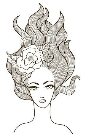 Beautiful girl with flower in hair Vector