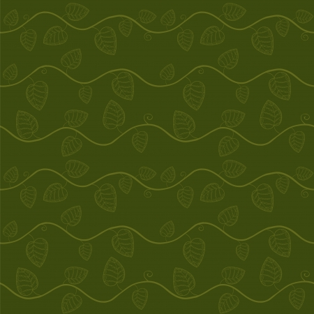 tints: Stylized leaves and branch seamless pattern in dark green tints Illustration