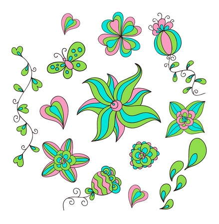 Set of floral doodles. Bright summer colors. Vector