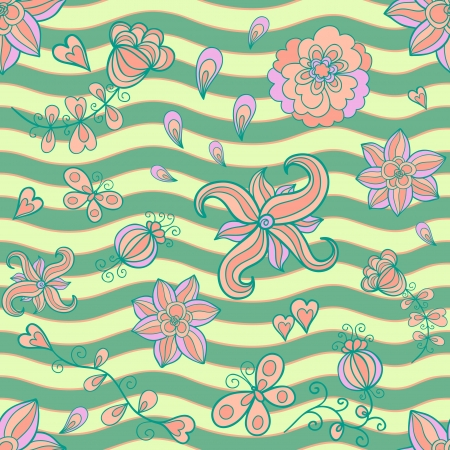 Abstract floral doodle seamless pattern. Retro colors Vector