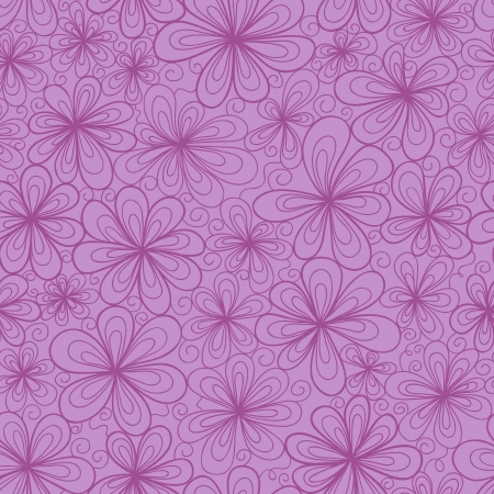 tints: Stylized doodle flowers. Seamless pattern in subdued violet tints.
