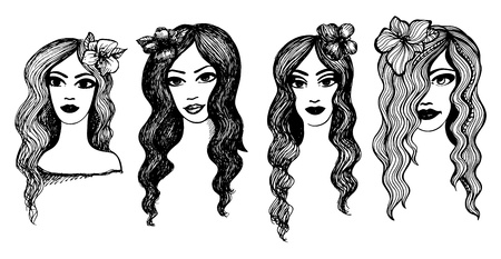Long-haired girls with flowers. Black and white Stock Vector - 20697841