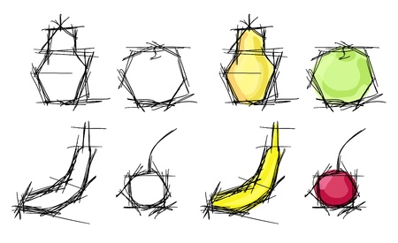 sappy: sketches set of fruits, such as apple, cherry, banana and pear. Black and white and colorful variants