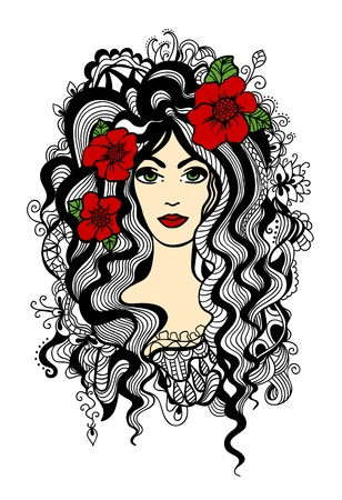 gravure: Beautiful woman with red flowers in hair.