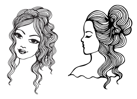 Black and white sketches. Beautiful girls Vector